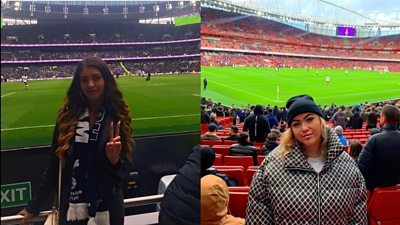 female fans at football match