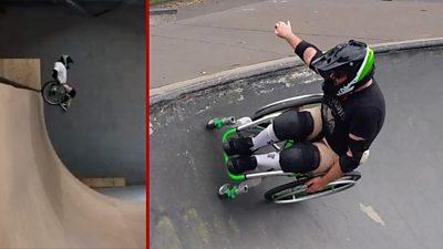 Man in wheelchair performing WCMX tricks