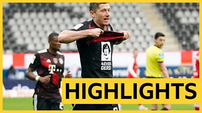 Watch highlights as Robert Lewandowski scores his 40th goal this season to equal Gerd Muller's 49-year-old Bundesliga record for the most goals scored in a single campaign.