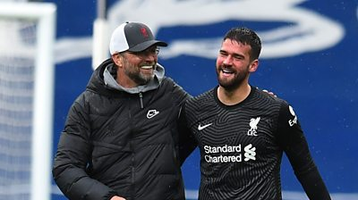 """Liverpool manager Jurgen Klopp describes Alisson's stoppage-time winner as a """"worldie"""" and the """"best goal"""" he's seen from a goalkeeper as Liverpool won 2-1 against West Brom."""