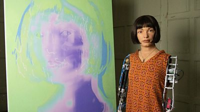 Self-portraits by Ai-Da, an artist android, go on display at The Design Museum in London.