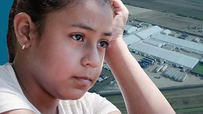 Young girl and US detention centre