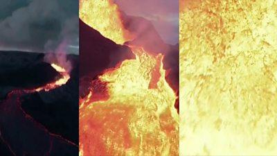 Drone crashing into lava