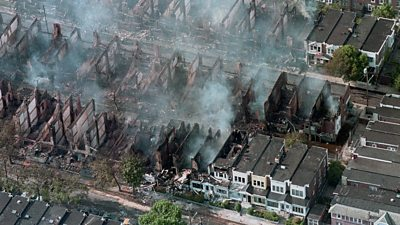 Aerial view of burning houses