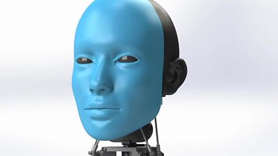 A blue coloured robot head, named Eva, that can mimic the expressions of people around it