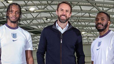Krept and Konan with England manager Gareth Soutgate
