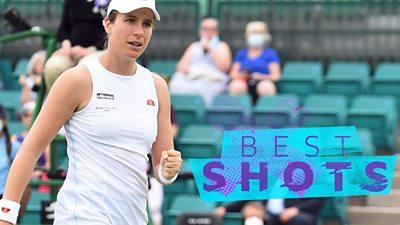 Watch the best shots as Johanna Konta battles hard to overcome Ukraine's Kateryna Kozlova and reach the quarter-finals at the Nottingham Open.