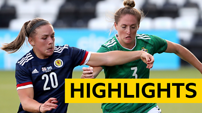 Scotland and Northern Ireland players tussle for the ball