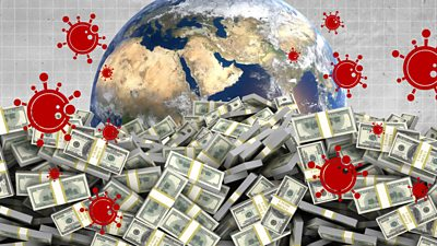 Piles of money in front of planet Earth and coronavirus symbols
