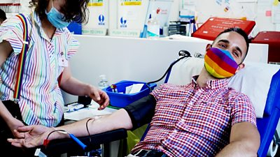 Gay couple Oscar and Xavier donate blood for the first time after rules change across most of the UK.
