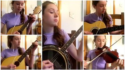 Caitríona Lagan is 15-year-old All-Ireland champion musician who plays five instruments.