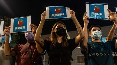 Supporters outside Apple Daily headquarters