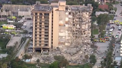 This video was sent by one of the first eyewitnesses on the scene of the Miami building collapse.