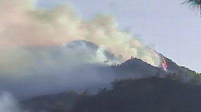 Wildfire on Cypriot hillside