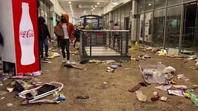 A damaged shopping centre