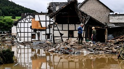 Drone footage shows flood damage in Germany and Belgium - BBC News