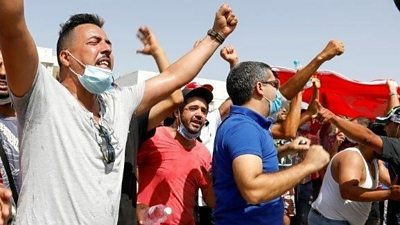 Supporters of Tunisia's president near the capital's parliament building, 26 July 2021