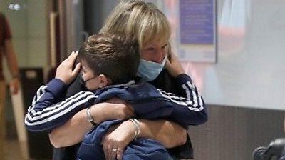 Family reunion at Heathrow