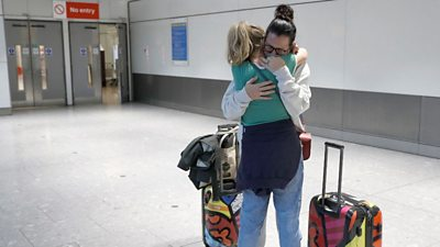 Changes to UK travel rules for fully vaccinated US and EU passengers have lead to emotional scenes.