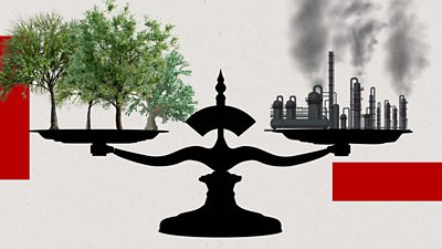 Graphic illustration of scales balancing factories with fumes and trees