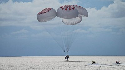 The quartet of civilian astronauts landed safely in the Atlantic off the coast of Florida.