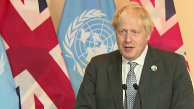 """The COP26 summit is the moment when """"we have to grow up and take our responsibilities"""", the UK prime minister says."""