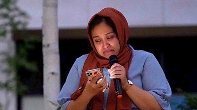 Sabina Nessa's sister Jabina Yasmin Islam speaks at the vigil, 24 September 2021
