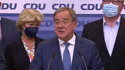 Armin Laschet thanks Angela Merkel for her service as chancellor - but says he is not happy with the election result so far.