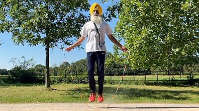 Rajinder Singh, known as the 'skipping sikh' training ahead of the London Marathon