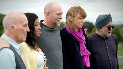 Mike Tindall with four people that have Parkinson's disease