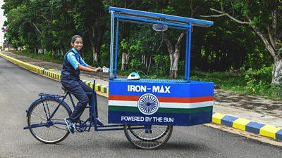 Vinisha with her solar-powered ironing cart