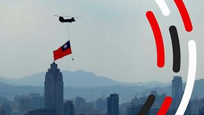 Taiwan flag hanging from helicopter