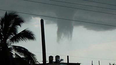 A waterspout in Cuba