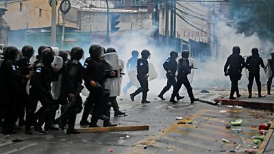 Riot police on the streets of Guatemala City