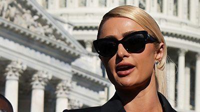 Paris Hilton speaks outside US Capitol, 20 October 2021