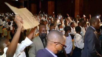 School students inside parliament