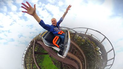 A super fan takes his 6,000th ride on a wooden rollercoaster after Covid delayed the milestone.