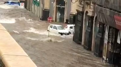 A flooded street in Catania's city centre