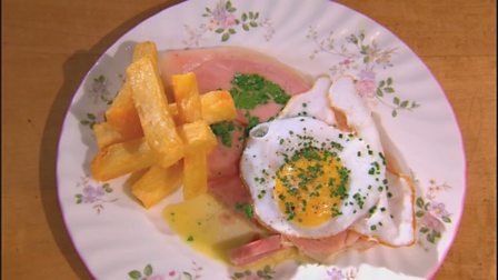 Ham, fried duck egg and triple cooked chips