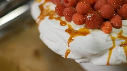 Raspberry and caramel pavlova