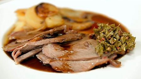 Weeping lamb with boulanger potatoes and mint sauce