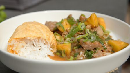 Sweet and sour pork and pineapple with rice omelette
