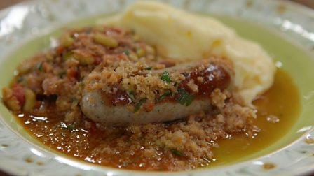 Confit duck cassoulet with olive oil mash