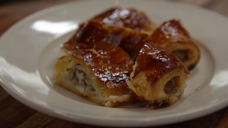 Homemade puff-pastry and wild boar sausage rolls