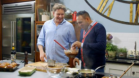 Bbc food recipes from programmes 8 pick me ups james martin cooks the ultimate fast food pizza and a decadent delight forumfinder Choice Image