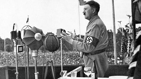 Adolf Hitler delivers a speech during the Party Congress at Nuremberg in 1935