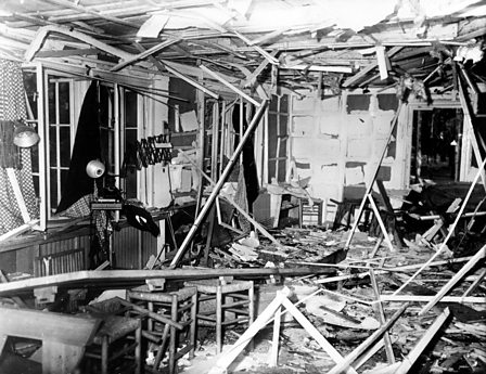 The conference room where Hitler had been sitting, destroyed by Stauffenberg's bomb