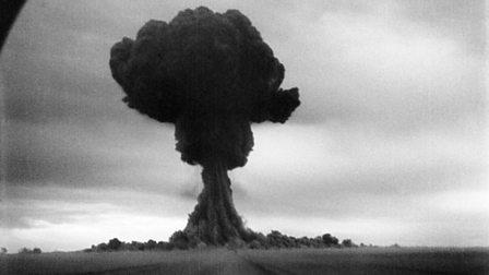 Mushroom cloud from first Soviet atomic bomb test