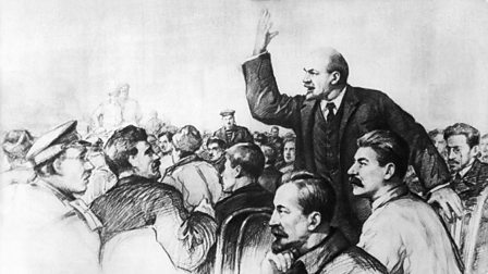 Lenin speaks at the First All-Russian Congress of Soviets with Stalin at his side