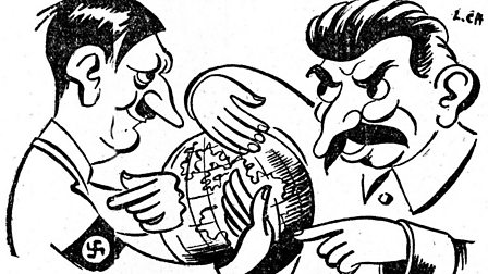 Satirical cartoon of Hitler and Stalin agreeing on how to divide Europe